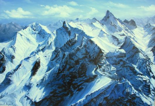 mountains, winter, landscape, painting