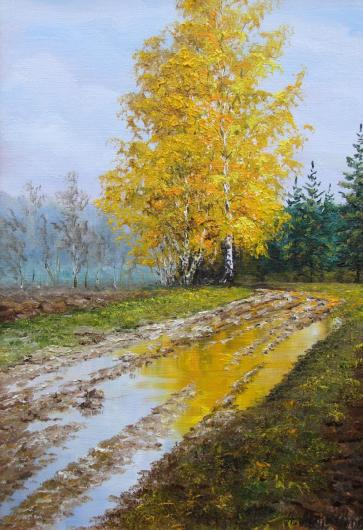 Autumn landscape birch