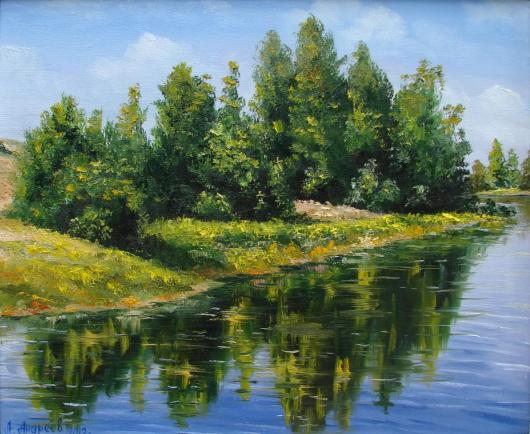 summer, river, сoast , landscape, painting