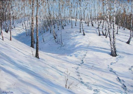 winter landscape, birch grove