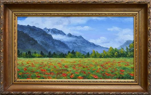 summer, landscape,  poppy field