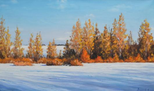 winter, painting, thawing, landscape