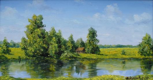 summer,  river, landscape