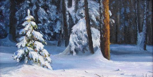 winter, landscape, Herringbone