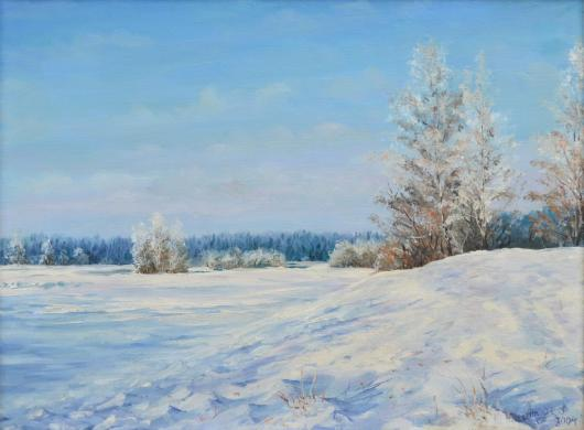 winter, february, morning, landscape, frosty morning, painting