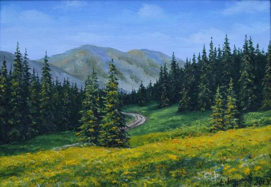 Karpaty,near the mountains,mountains, landscape, painting, art