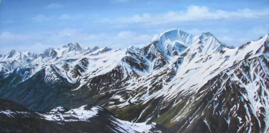 landscape, painting, mountains, Caucasus, climbing, mountaineering