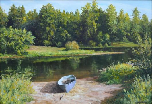 summer,  river, landscape