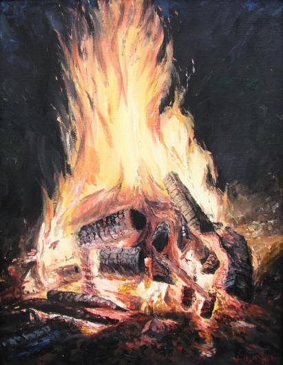 still life, painting, bonfire, fishing