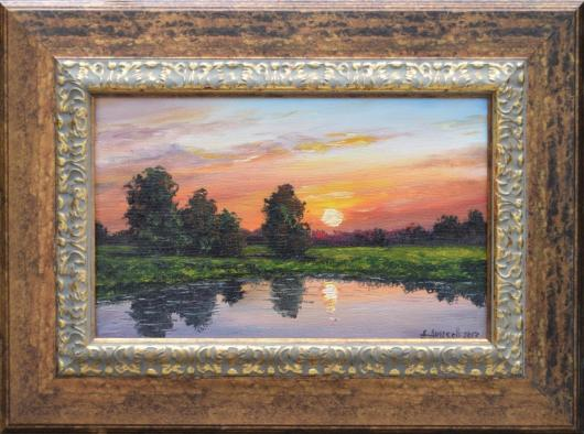 summer, reflection, river, sunset, landscape, painting