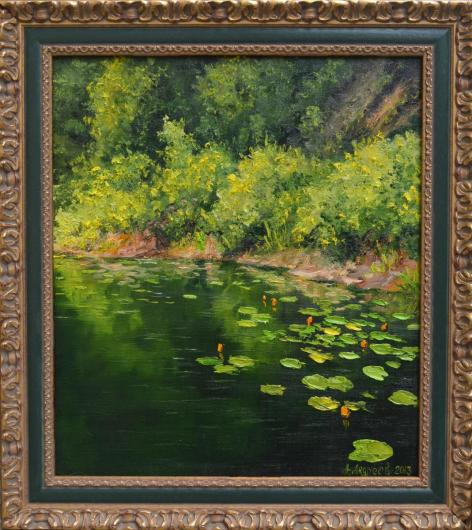 кувшинки, река лето, пейзаж, живопись