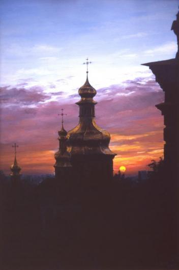 Киев, Лавра, вечер, пейзаж, живопись