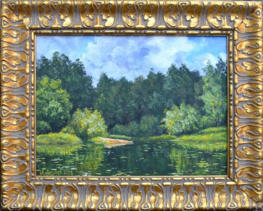 summer, river, morning, landscape, painting,Forest River