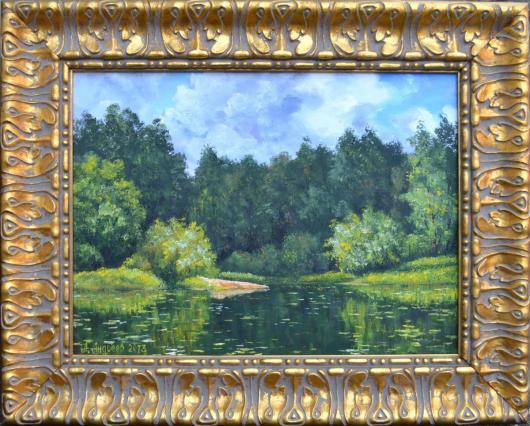 река, лето, лесная заводь, картина, искусство, живопись