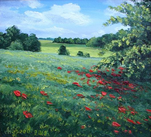 landscape, poppies