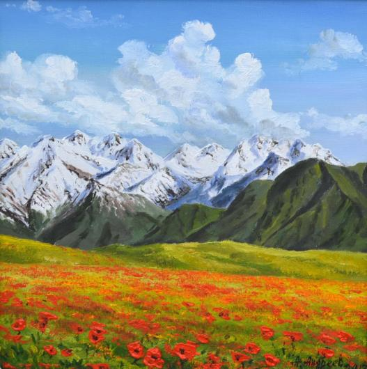 mountain, poppies, landscape, painting, art