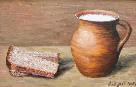 still life, paintings, milk, bread