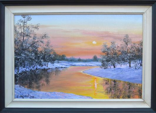 winter, frosty morning, frosty purple, painting, landscape