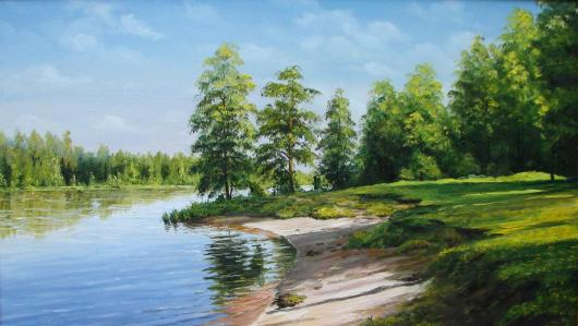 summer, river, landscape, painting