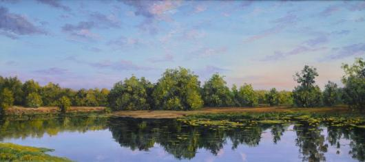 Morning, lake, summer, landscape, painting