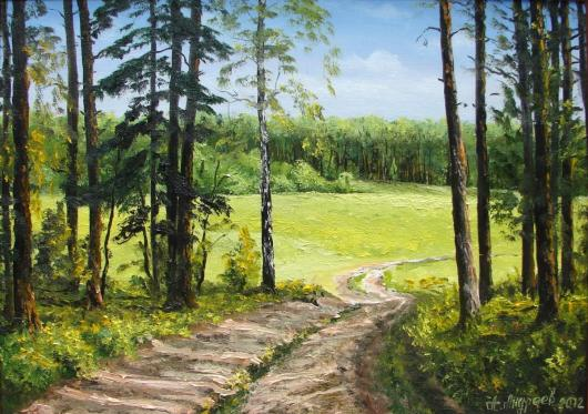лето, пейзаж, живопись, опушка