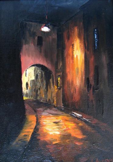 ночь, улица, город,  живопись