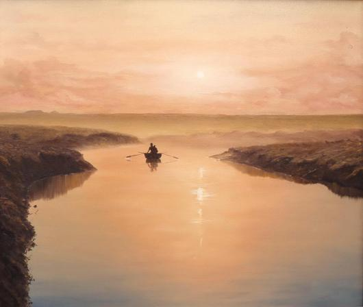 summer, river, landscape, painting, nostalgia