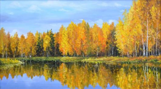 picture, golden autumn, landscape, painting, fleeting, eternal