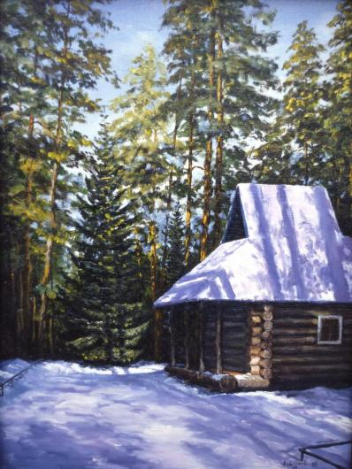 winter, landscape, painting, snow, house