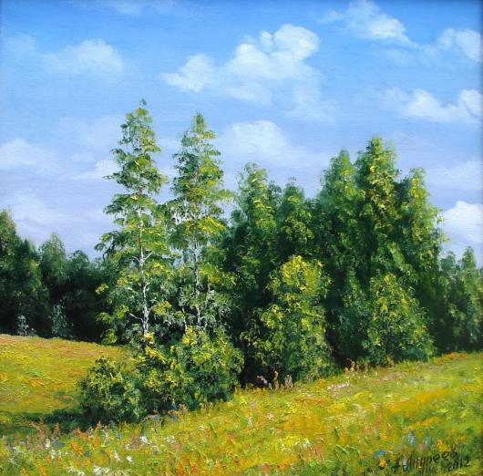 summer, landscape, painting, marge, the picture