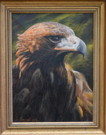 живопись, орёл, птицы, картина, горы
