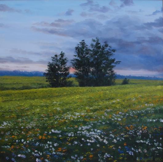 лето,философия, покой, пейзаж, живопись, на, тему, времена, года,