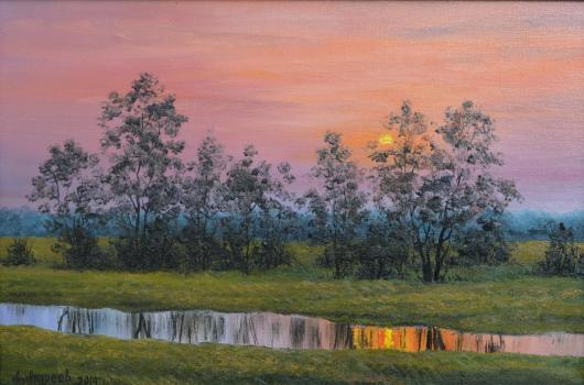 лето,отражение, ручей,закат, пейзаж, живопись