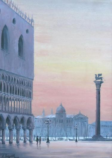 landscape, Venice, St. Mark Square, sunset
