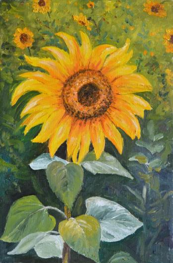 still life, painting, art, sunflower, flowers