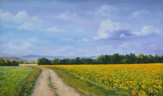 Summer, sunflowers, field, landscape, painting