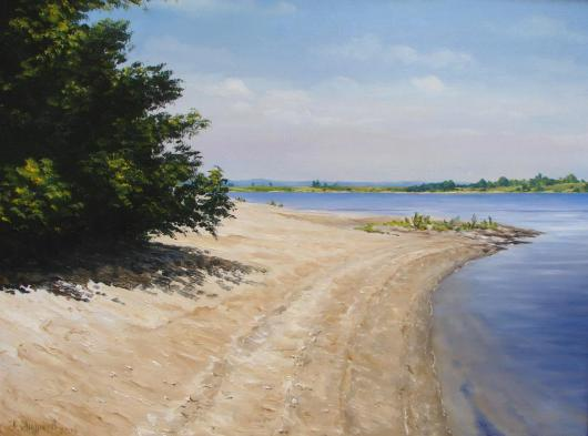 summer, the river, the Dnieper, landscape, painting