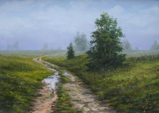 summer, landscape, rain