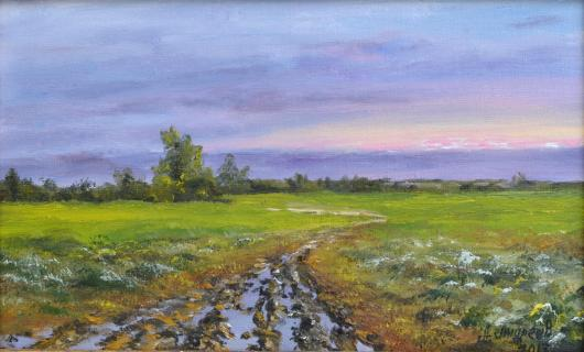 summer, field, after the rain, painting, art