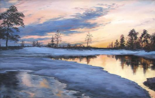 winter, landscape, painting, warmer,river