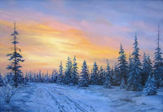 winter, landscape, painting, snow, circumpolar