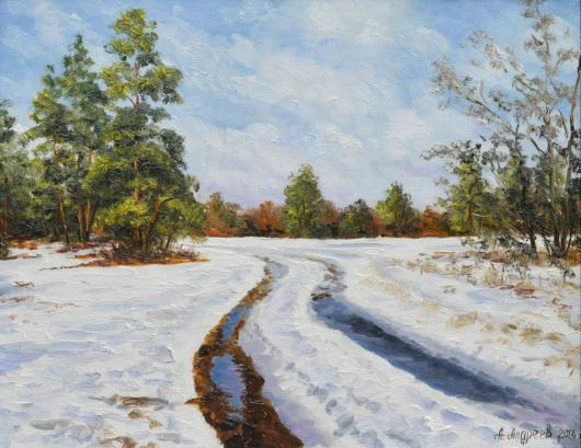 winter, thaw, painting, landscape