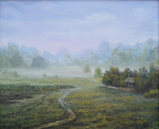 лето,картина,утро, туман