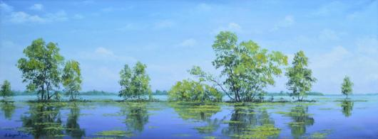 картина, пейзаж, река,