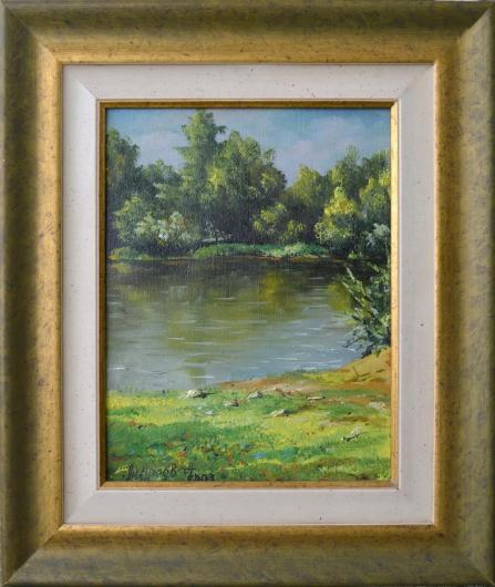 river, summer, painting, art