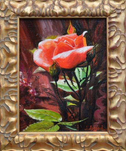 roses, flowers, landscape, painting