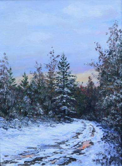 зима, пейзаж, живопись, снег, лес, Рождество
