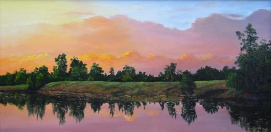 Summer, reflection, the river, decline, landscape, painting