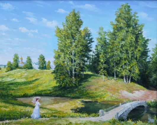 Painting, bridge, summer, lake, village