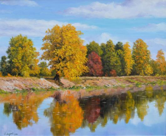 картина, золотая осень, осень, пейзаж, живопись